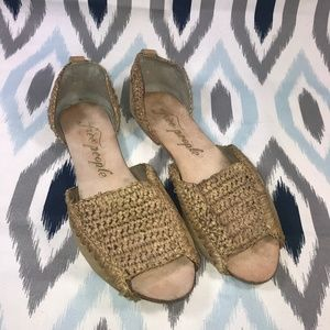 Free People Tan Woven Slip-On Sandals